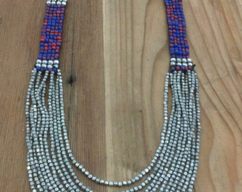 Metal Beaded Bib Necklace with Bell Clasp Ethnic Tribal Boho Hippie