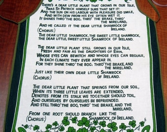 Irish apron - Dear Little Shamrock poem - linen/cotton