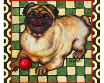 Pug on a Rug with Red Ball Checkerboard  10x10, 14x14, 16x16, 20x20 Korpita