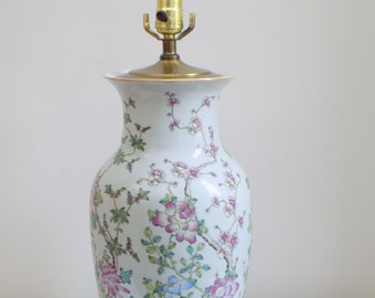 Mid Century Chinoiserie Porcelain Hand Painted Table Lamp - Brass Cap Wood Base - Elegant Asian Oriental Blossoms Floral Regency Chinese
