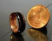 Irish ring bog Oak and old Irish penny coin
