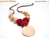 25% off Organic Cotton Nursing necklace - Triple Teething necklace with pendant