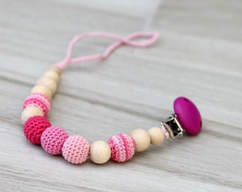Baby dummy chain Pacifier clip, Crochet wooden holder, stroller dummy chain, Pink Teething wooden babygirl toy