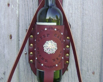 Handmade Keep Calm Drink Wine with Crystals-Wine Holder