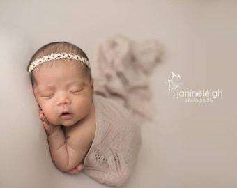 Laurel Lace Knit Wrap, Newborn Photo Prop, Newborn Knit Wrap, Beige Lace Knit Wrap, RTS