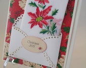 Vintage Embroidered Christmas Handkerchief Poinsettias Keepsake Gift Mother Teacher Co Worker Happy Holidays Hankie Greeting Card