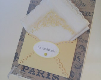 Vintage White Embroidered Handkerchief Gold Scallopped Edge Friend Teacher Gift You Are Special Keepsake Hanky Card