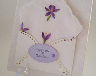 Gorgeous Embroidered Vintage Wedding Handkerchief Accessory Happy Tears Purple Blossoms Friend Mother Birthday Keepsake Gift Hanky Card