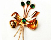 Coro  brooch Bow Flower  Bouquet  green glass gold plaaated
