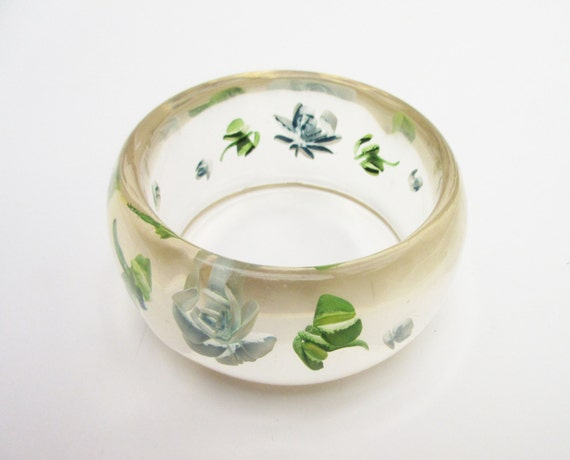 Clear Lucite Bangle with embedded carved blue green flower Bracelet