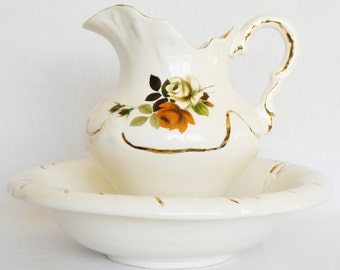 Vintage Large Maurice of California LP101 Cream with Roses Bowl & Pitcher Set, Vintage Bowl and Pitcher Set, Large Bowl and Pitcher set,