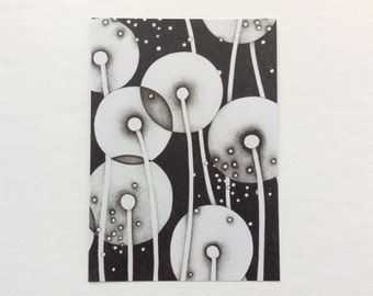 postcard - NOUR - 5x7 art / black & white / nature art / flower art card / mail art / flower, dandelion, seeds, night, luminary