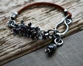 Garnet Cluster Bracelet Leather Strap Beaded Oxidized Silver Layering Bracelet Jewelry by Letemendia