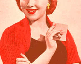 Almost FREE Vintage 1950's Quick & Easy Shoulderette Shrug Wrap  #1108 PDF Digital Knit Pattern