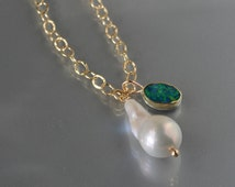 Large Baroque Pearl and Australian Black Opal Pendant in 18K Gold- Baroque Pearl and Opal Charm Necklace in Gold