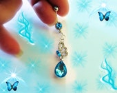Belly Ring, Aqua Sea Blue Crystal Butterflly With Dangling Crystal Tear Drop, 18KWGp Belly Button Ring Body Jewelry For Women, Or Teens
