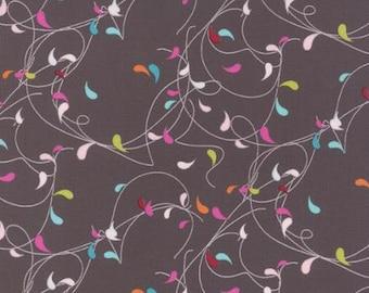 Flow Splash Graphite Fabric - Zen Chic for Moda Fabrics 1591 15 Orange, Pink, Blue, Green, Fireworks