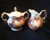 Vintage Enesco Sugar and Creamer painted with fruit
