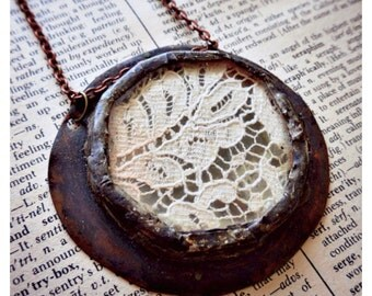 Romantic White Lace, brass, and soldered glass circle pendant
