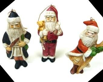 "Santa Past Brookstone ""A History of Santas Past""  -  Ornamant Set in Padded Wooden Box - Six Different Santas"