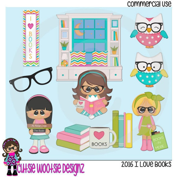 2016 I Love Books Clip art Clipart Graphics Commercial Use ...
