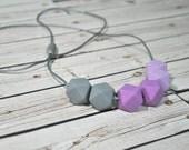 Silicone Teething Necklace - Silicone Nursing Necklace - Purple Lavendat Lilac Grey - Nursing Necklace