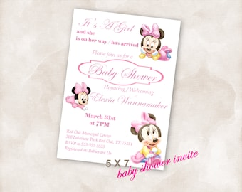 5X7 Baby shower invite Invitation Instant Download printable Just add your info and print!  mini mouse baby girl