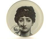 Porcelain Plate Altered Face Lina Cavalieri Wine Glass Hand Woman Vintage Dishware Housewarming Wedding Gift