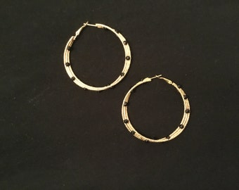 Beautiful gold hoops with black rhinestones