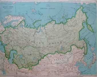 Rare SOVIET UNION Map Vintage 1947 Map RARE Size  Atlas Map  Plaindealing 6917
