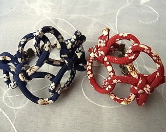 Japanese Chirimen cord knot bracelet / fabric cord jewelry -dark blue or dark red