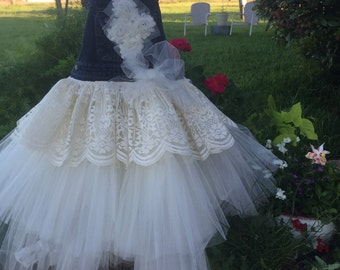 Denim,tulle and lace tutu made to order