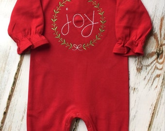 Christmas JOY Red Holiday Double Ruffle Romper Custom Monogram Applique