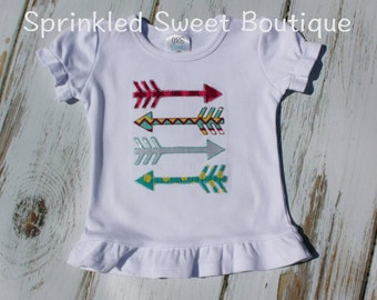Colorful Arrows Girls or Boys Shirt Custom Monogram Fall Applique Embroidery