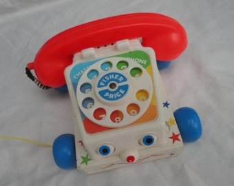 Vintage 1985 Fisher Price Chatter Telephone 747 Made in USA The Quakers Oat Company Kids Pull Toy Phone Telephone Fisher Price Kids Toy