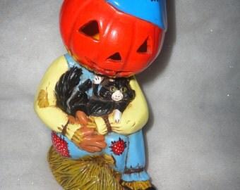 Vintage Hand Crafted Ceramic Scarecrow Halloween Scarecrow Holding Black Cat Pumpkin Head Scarecrow Blue Scarecrow Halloween