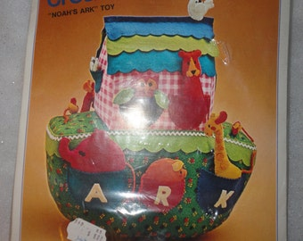Vintage Unused in Original Package Noah Ark Bucilla Creative Needlecraft Noah's Ark Toy Stands 14 Inches Tall Colorful Noahs Ark Made in USA
