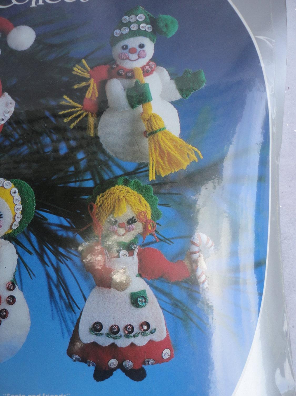 Mr and mrs claus ornaments - Vintage Unopened Unused Paragon Christmas Felt Ornaments Kit Collection Santa And Mrs Claus Ornaments Mr And Mrs Snowman Ornaments