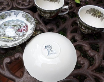 Johnson Brothers England Transferware-The Ice House-Teacup/Coffee Cup and Saucer Sets-X2