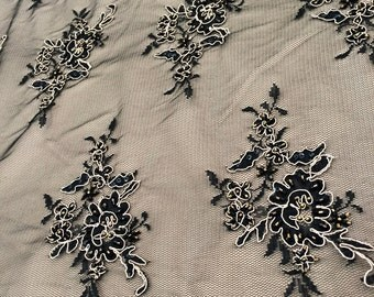 Lace, Black Lace Fabric, Black Embroidered Tulle, Embroidered Lace, Peach Embroidery, Beaded Lace Fabric (C2)