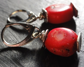 Red coral 925 silver earrings, coral dangle silver earrings, raw silver coral earrings, silver huggie wraps earrings