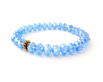 SALE Ice Blue Flower Closer (Gold)