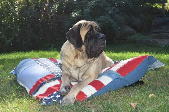 Denim Dog Bed, Super Huge Denim American Flag Dog Bed, American Flag, American Flag Dog Bed