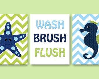 Canvas Bathroom Decor Wash Brush Flush Bathroom Art Print Starish Nursery Decor Seahorse Nursery Childrens Art set of 3 Blue Navy Green
