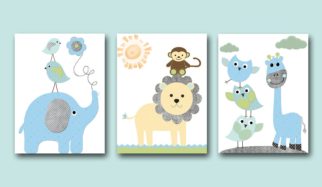 Baby boy nursery wall decor kids wall art kids art giraffe for Baby nursery wall decoration