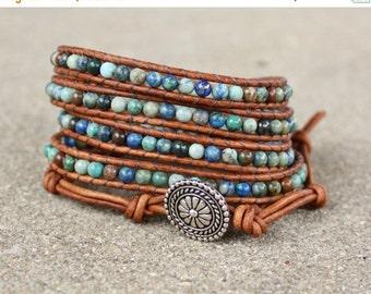 SPRING SALE blue chrysocolla beaded leather wrap bracelet teal green light brown boho 5 strand