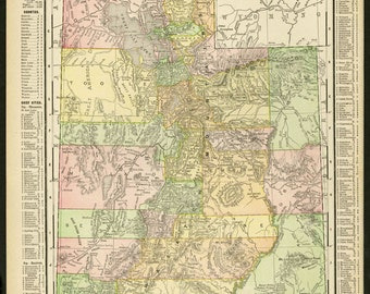 Vintage Map Utah From 1914 Original