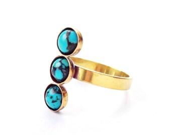 Turquoise Trio Ring