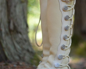 White Buffalo Wedding Moccasins - Wedding Boots - Women's Moccasin Boots - Knee High Boots  - Custom Moccasins - White Leather Boots
