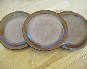 Vintage Frankoma Brown Satin Salad  plates 3 are included  Made is USA Very good